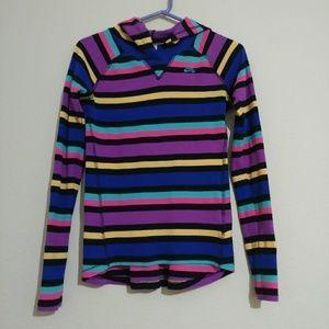 Girls Nike Striped Hooded Thermal Sweatshirt XL